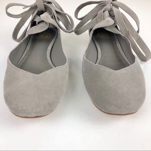 Gianni Binni Gray Suede Ballet Slippers Lace Up